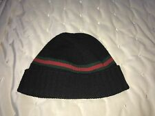GUCCI 294731 Men's Wool with Web Stripe Beanie Hat, Black Size S