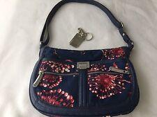 Tyler Rodan Handbag / Purse Navy Blue Red + Key Chain 7 Pockets Adjustable Strap