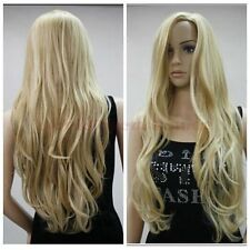 Fashion Blonde Mix Ladys Long Wavy Wig Party Anime Cosplay Hair Full Women's Wig