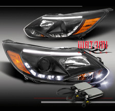 12 13 14 FORD FOCUS S SE SEL ST DRL LED PROJECTOR HEADLIGHT LAMP BLACK +10K HID