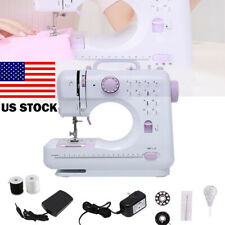US Portable Electric Sewing Machine Double Speed 12 Stitches Household Tailor