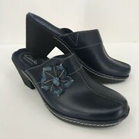 Clarks Bendables Women's Navy Leather Flower Slide On Clogs Size 6M