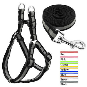 Nylon Reflective Dog Harness and Leads Leash Set Soft for Medium Dogs Walking
