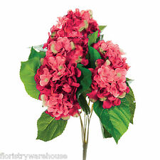 Artificial silk Pink Hydrangea bush 42cm for wedding flowers or window box