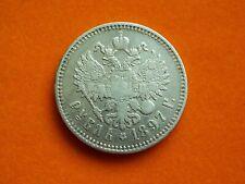 RUSSIAN EMPIRE 1 RUBLE ROUBEL 1897 (**) CZAR NICHOLAS II SILVER 900 COIN !