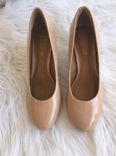 Clarks Soft Cushion High Heel Pumps Patent Leather Shoes Beige Nude Size 7.5M