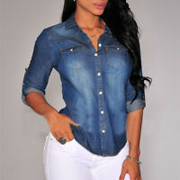 Retro Women Casual Blue Jean Denim Long Sleeve T-Shirt Tops Blouse Slim Shirts