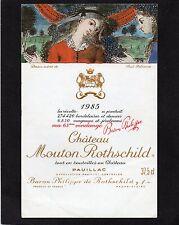 PAUILLAC 1ER GCC ETIQUETTE CHATEAU MOUTON ROTHSCHILD 1985 37.5 CL    §26/06/17§