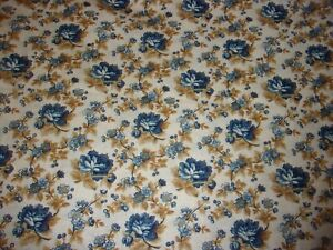 CLEARANCE 1 YARD Floral Heritage Home Blue Flower Beige Quilting Crafts Fabric