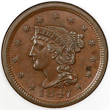1847 N-27 NGC MS 63 BN Braided Hair Large Cent Coin 1c Ex; Jules Reiver