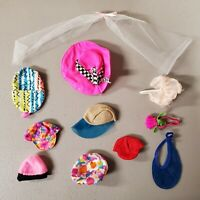 7D~ GUC 79 ~ HATS~MIXED BARBIE DOLL FASHION ACCESSORIES USED HAT LOT 4 OOAK PLAY