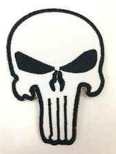 1 x White Skull The Punisher Logo Embroidered Patch Emblem Heat Iron Sew On