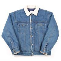 Vintage Sherpa Fleece Lined Denim Jacket | Women's M | Coat Jeans Retro Biker