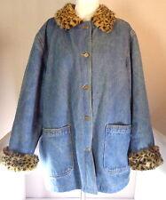 Lew Magram Denim Jacket Faux Fur Lined Womens Size 2X