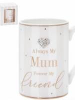 Always my mum mug China mug heart design boxed gift Mother's Day present novelty