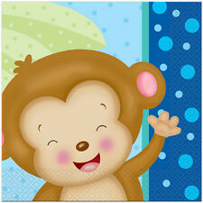 BABY BOY MONKEY LUNCH NAPKINS (16) ~ Shower Party Supplies Serviettes Dinner