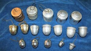 MIXED LOT 17 VINTAGE TEA INFUSERS ALUMINUM-STAINLESS-BRASS COLOR