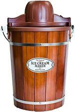 Ice Cream Maker 6 Qt. Dark Wood Bucket Powerful Motor Electric Ice Cream Maker