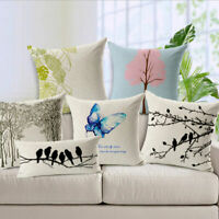 Tree And Birds Linen Pillow Case Sofa Car Waist Throw Cushion Cover Home Decor