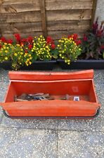 VINTAGE METAL TOOL BOX WITH HANDLE INCLUDING OLD TOOLS COLLECTABLE HARDWARE