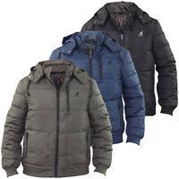 Mens Kangol Jackets Heavy Padded Lined Detachable Hood Zip Up Winter Coats
