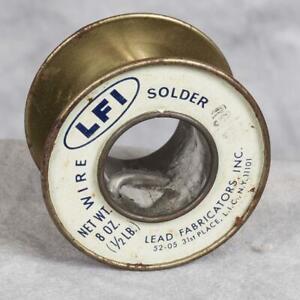 Vintage LFI Lead Fabricators Wire Solder Advertising Packaging Metal Spool g50