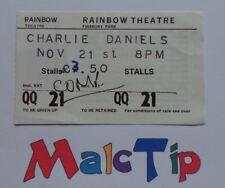 CHARLIE DANIELS – Concert Ticket Stub – Rainbow London 21/11/80