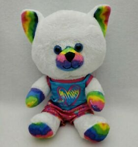 "Build a Bear BAB Buddies Small White Cat Rainbow Ears Outfit Included 7"" Sitting"
