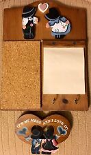Vintage Handpainted Message Board Center Cork Solid Wood Wall-Mount