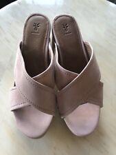FRYE Womens Blush Suede Mule Heels Shoes $328 Size 7