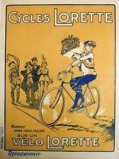 """""""CYCLES LORETTE"""" Affiche originale entoilée litho années 20 65x85cm"""