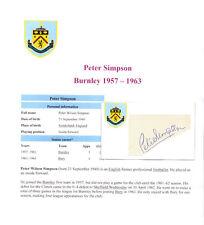 Peter simpson burnley 1957-1963 rare original hand signed card. excellent