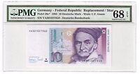 Germany 10 Mark Banknote 1993 Pick# 38c* PMG Superb GEM UNC 68 EPQ Replacement