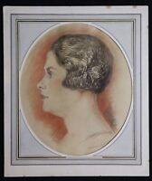 Edmond Lajoux (Xix-Xx) Porträt von Frau Art Deco Pastell um 1930 Orientalismus