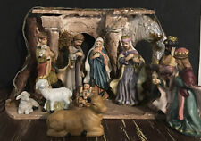 11 Piece Christmas Nativity Set Scene ~ Porcelain Figures ~ Wood Backdrop Piece