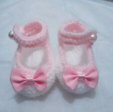 Hand knitted baby booties shoes brand new white and pink 0 - 3 months