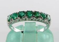 CLASS 9K 9CT WHITE GOLD COLOMBIAN EMERALD ETERNITY ART DECO INS RING FREE RESIZE