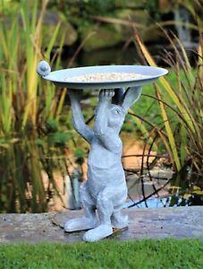 Garden Ornament Bird Feeder Bath Rabbit Hare Statue Statue Grey Slate effect