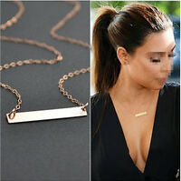 Simple OL Horizontal Stick Necklace Noble Bar Bone Pendant Chain Gold New