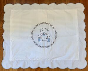 """Pillow Sham With Stitched Brown & Blue Teddy Bear, Blue Scalloped Edges 17""""x13"""""""