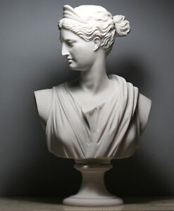 ARTEMIS DIANA Bust Head Greek Roman Goddess Statue Sculpture Cast Marble 11.8in