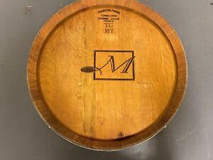 "Wine Barrel Head Lazy Susan with Band Francois Freres ""M"" logo"
