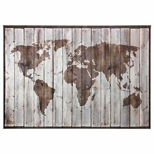 Ikea Bjorksta. Driftwood World Map Canvas 78 3/4 X 55. With Brass Frame