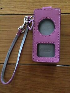 Coach Pink Ipod Nano Leather Case Wristlet With Heart Charm