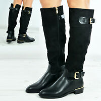 Womens Ladies Zip Stretch Knee Boots Low Gold Trim Heel Shoes Size Uk 3-8