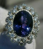4ct Tanzanite Diamond Vintage Halo Engagement 14K Ring White Gold Over Sizable