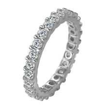 Women's Genuine 925 Sterling Silver Simulated Diamond Eternity Wedding Band Ring