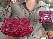 VINTAGE MOSCHINO BAG & WALLET ~RARE!~ Red Croc Handbag Clutch Purse Redwall