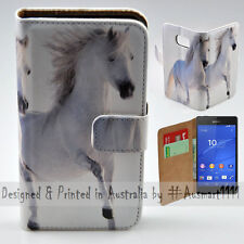 Wallet Phone Case Flip Cover for Sony Xperia Z3 - Two White Horses Hi-Res Print