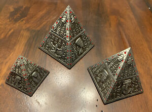 Egyptian Pyramid Trinket Box, Set Of 3, Silver Tone Magnetic Lid, New In Package